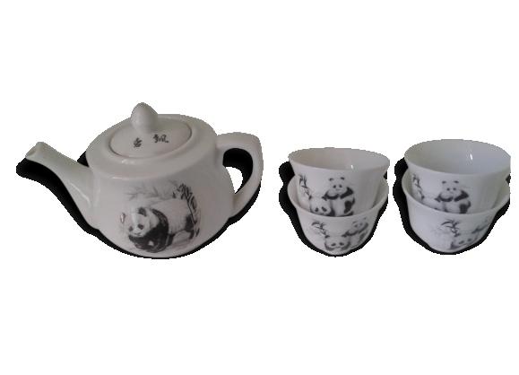 Amusante théière et ses 5 tasses 'panda'