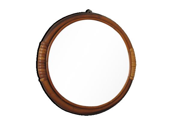 Mioir rond en rotin rotin et osier marron bon tat for Miroir rond en rotin