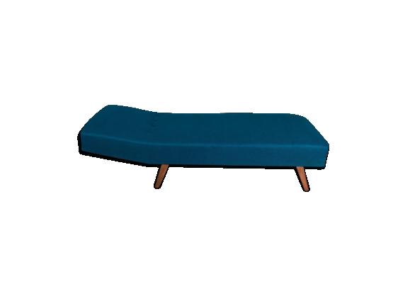 vintage banquette lit canap con u dans les ann es 60 tissu bleu bon tat vintage. Black Bedroom Furniture Sets. Home Design Ideas