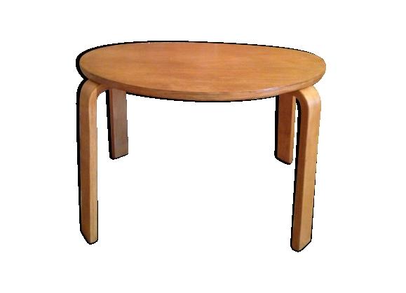 Table basse vintage en bois clair