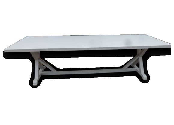 Grande table de salle à manger cuisine pieds x charpente en chêne 3m
