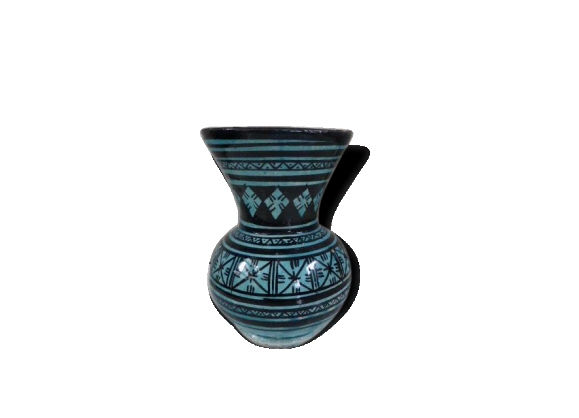 Joli vase oriental, motifs géométriques noirs sur fond bleu, vintage