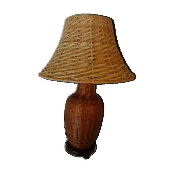 Lampe en osier rotin et osier marron bon tat for Lampe suspension osier