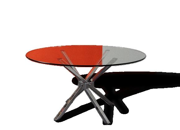 Table basse en verre et métal - années 70