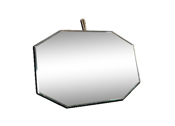 Miroir octogonal biseaut 1950 verre et cristal argent for Miroir octogonal