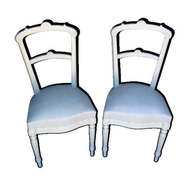 Duo de chaises anciennes style shabby bois mat riau for Style chaises anciennes