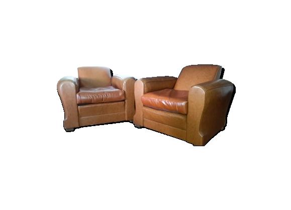 Paire de fauteuils club en cuir marron, année 1950