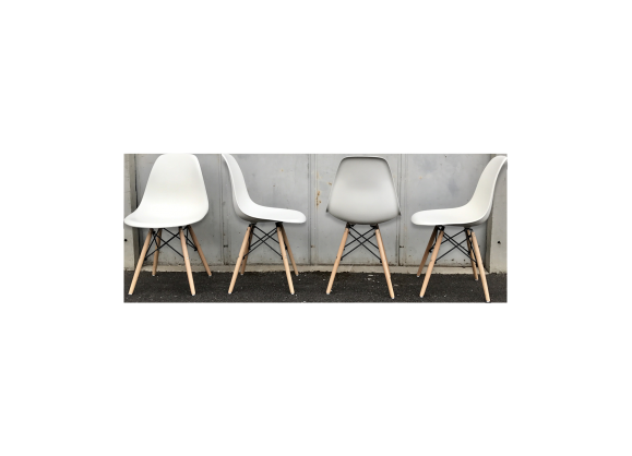 Set de 4 chaises eames dsw vitra blanche 2004 plastique for Chaise design dsw blanche blanc