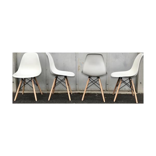 set de 4 chaises eames dsw vitra blanche 2004 plastique blanc dans son jus design. Black Bedroom Furniture Sets. Home Design Ideas