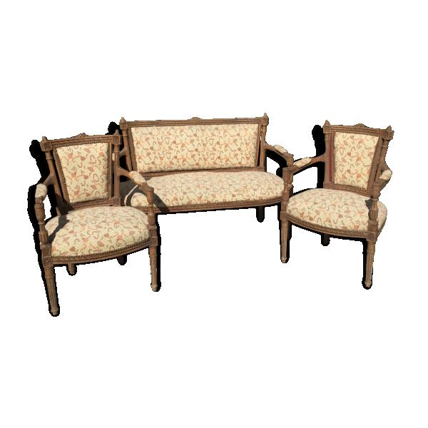 Salon 1 banquette et 2 fauteuils style louis xvi bois Salon banquette et fauteuil