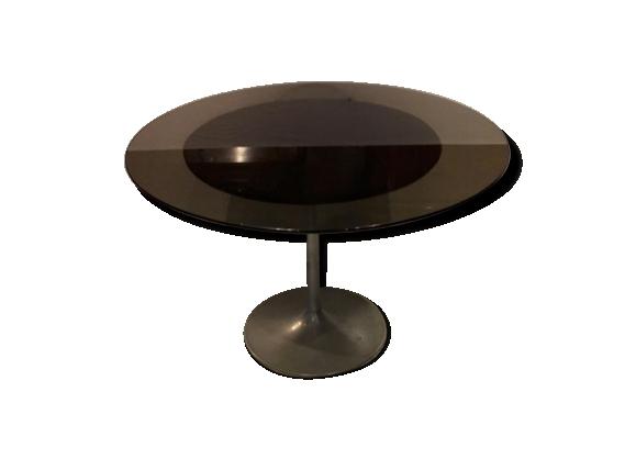 Table ronde design en verre fumé piétement aluminium