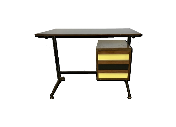 Small Italian Mid-Century Desk with Black and Yellow Drawers