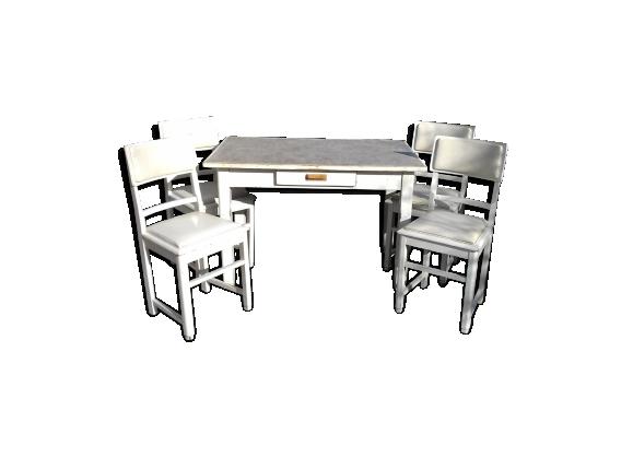 Ensemble table et 4 chaises bois mat riau blanc - Ensemble table et 4 chaises ...