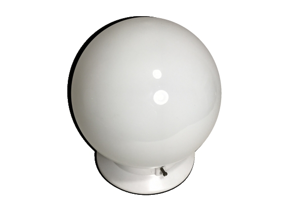 Plafonnier boule opaline blanc socle blanc style années 70 vintage