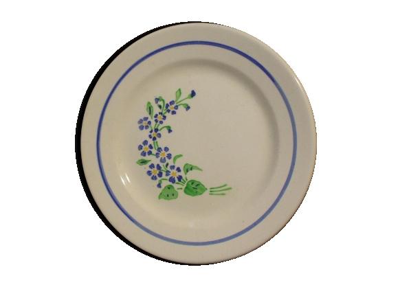 Lot de 4 Assiettes à dessert ' Niderviller ', décor fleurs bleues