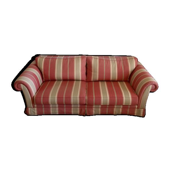 Canap trois places tissu rose bon tat classique - Canape classique tissu ...