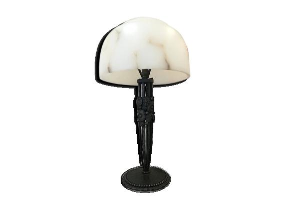 Lampe art déco en fer forgé et albâtre, 1930