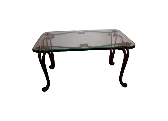 Table basse fer - Table basse de salon en verre et fer forge ...