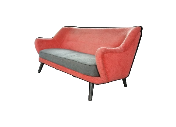 Canapé années 50/60 rouge gris