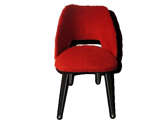 chaise cocktail moumoute bois mat riau rouge bon tat vintage. Black Bedroom Furniture Sets. Home Design Ideas