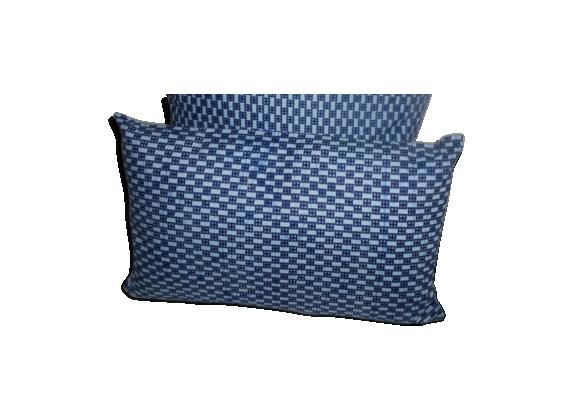 Housse de coussin en wax bleu 50 x 50 cm tissu bleu for Housse de coussin 50 50
