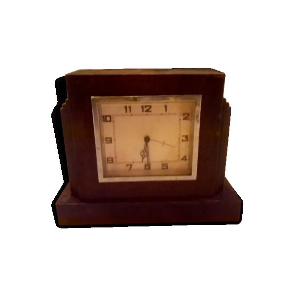 ancienne pendule m canique en bois de table poser borne art deco horloge bois mat riau. Black Bedroom Furniture Sets. Home Design Ideas