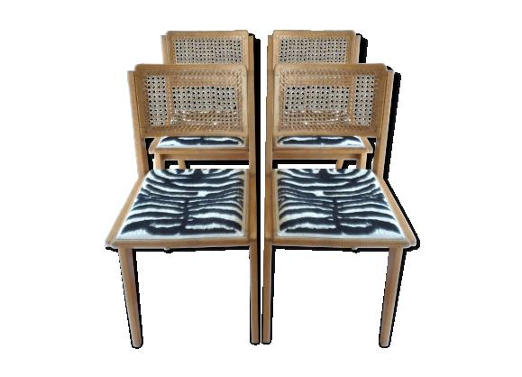 S rie de 4 chaises en bois clair et cannage ann es 50 for Cannage de chaise technique