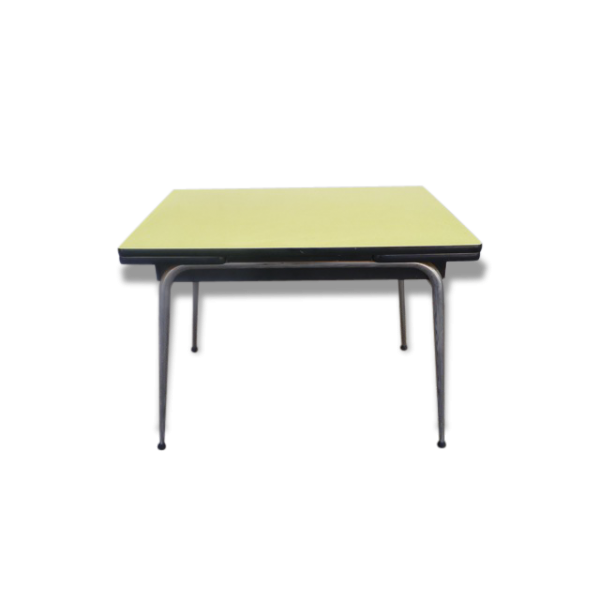 table formica jaune bois mat riau jaune dans son jus vintage 60254. Black Bedroom Furniture Sets. Home Design Ideas