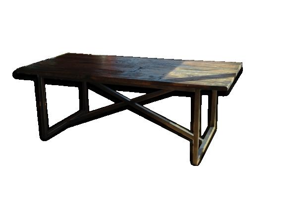 Grande table metal et bois brut