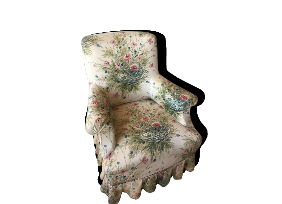 Fauteuil anglais en tissu sixties fleuri