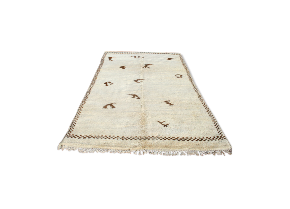 tapis marocain beni ouarain berb re 325x195 cm tissu blanc bon tat thnique. Black Bedroom Furniture Sets. Home Design Ideas