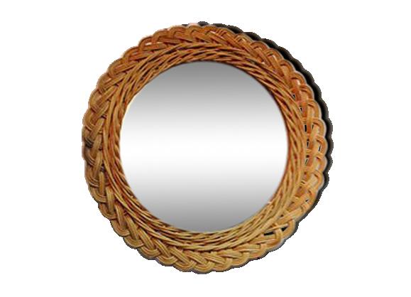 Miroir en osier vintage rotin et osier marron dans for Miroir en osier