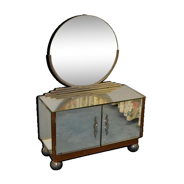 coiffeuse art d co tout miroir bois mat riau argent couleur bon tat art d co. Black Bedroom Furniture Sets. Home Design Ideas