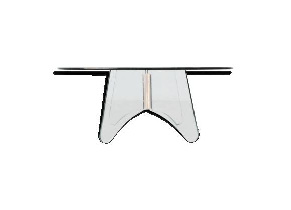 Table basse ronde années 80 vintage en verre et plexiglass