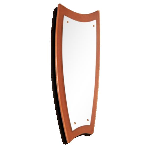 Miroir scandinave ann es 50 bois mat riau marron for Miroir annees 50