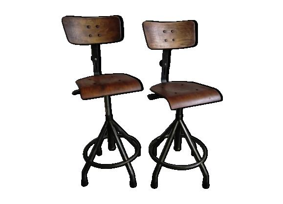 Paire De Chaises Atelier Industriel