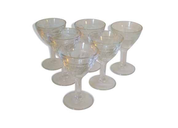lot de 6 verres pied bistrot fran ais verre moul d but xxeme verre et cristal. Black Bedroom Furniture Sets. Home Design Ideas