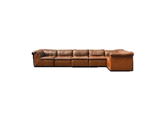 Canapé d'élément patchwork 'de sede style' en cuir cognac laauser, allemagne 1970