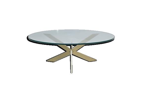 Table basse ronde verre et laiton années 70