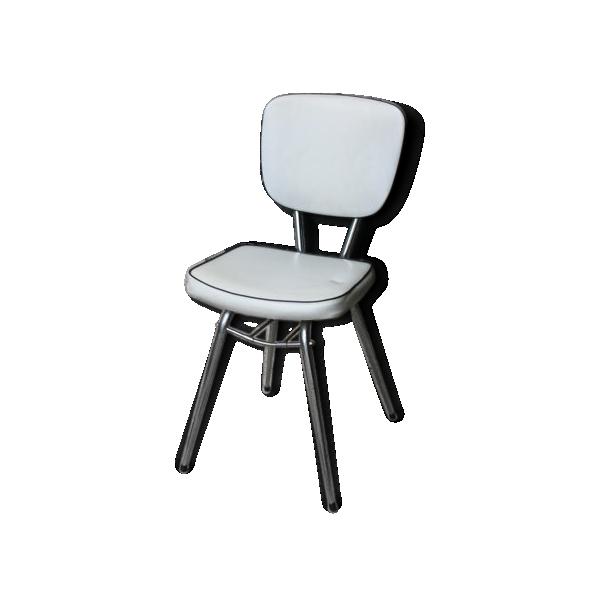 chaise ska blanc rembourr pied m tal chrome ska bon tat vintage 87318. Black Bedroom Furniture Sets. Home Design Ideas