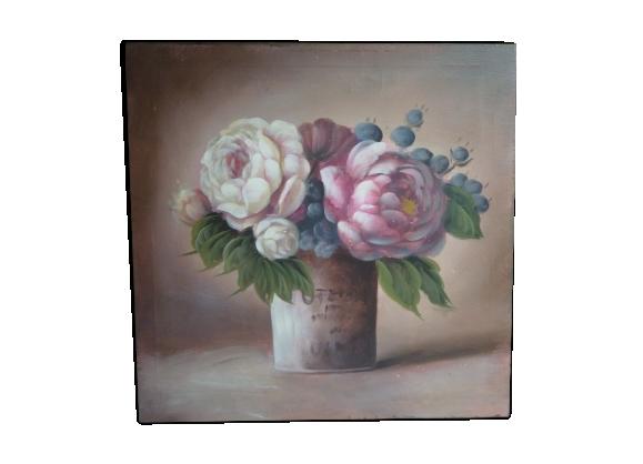 Bouquet de pivoines tableau peint à la main