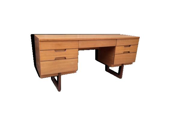 bureau en teck clair par uniflex bois mat riau bois couleur bon tat scandinave. Black Bedroom Furniture Sets. Home Design Ideas