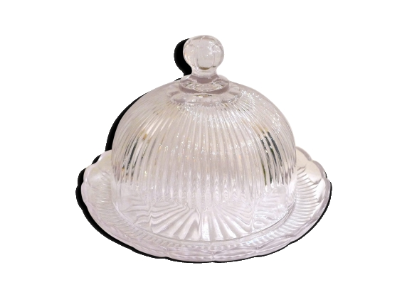 Cloche à fromage ou à gâteaux en verre moulé