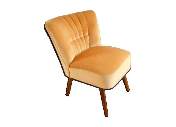 fauteuil cocktail ann es 50 60 m tal jaune bon tat vintage. Black Bedroom Furniture Sets. Home Design Ideas