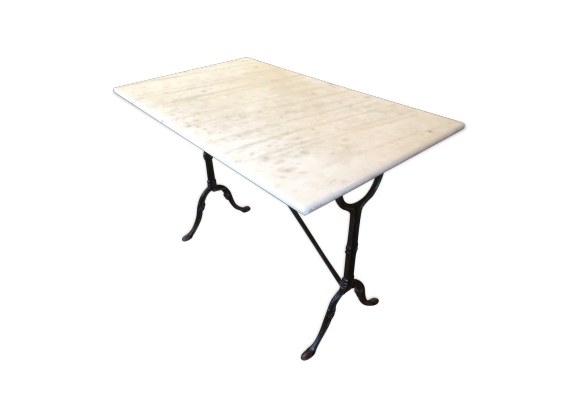 table de bistrot en marbre marbre blanc bon tat classique. Black Bedroom Furniture Sets. Home Design Ideas