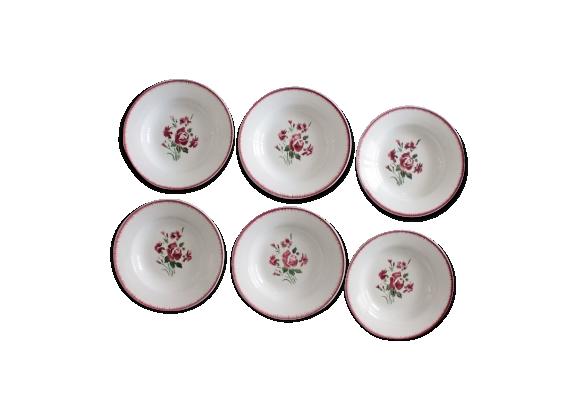 Ensemble de 6 assiettes à soupe Digoin Sarreguemines modèle Bouquet fleuri
