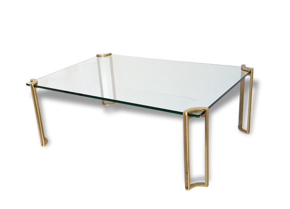 Magnifique & grande table basse en verre et laiton massif de Peter ...