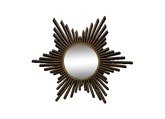 Miroir soleil en rotin et osier rotin et osier marron for Miroir soleil osier