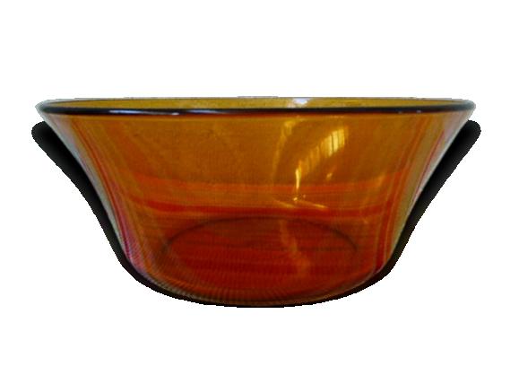 Saladier Duralex en verre ocre vintage 1970