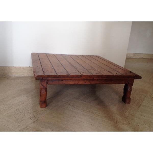 Table basse indienne bois mat riau marron bon tat - Table basse ethnique ...